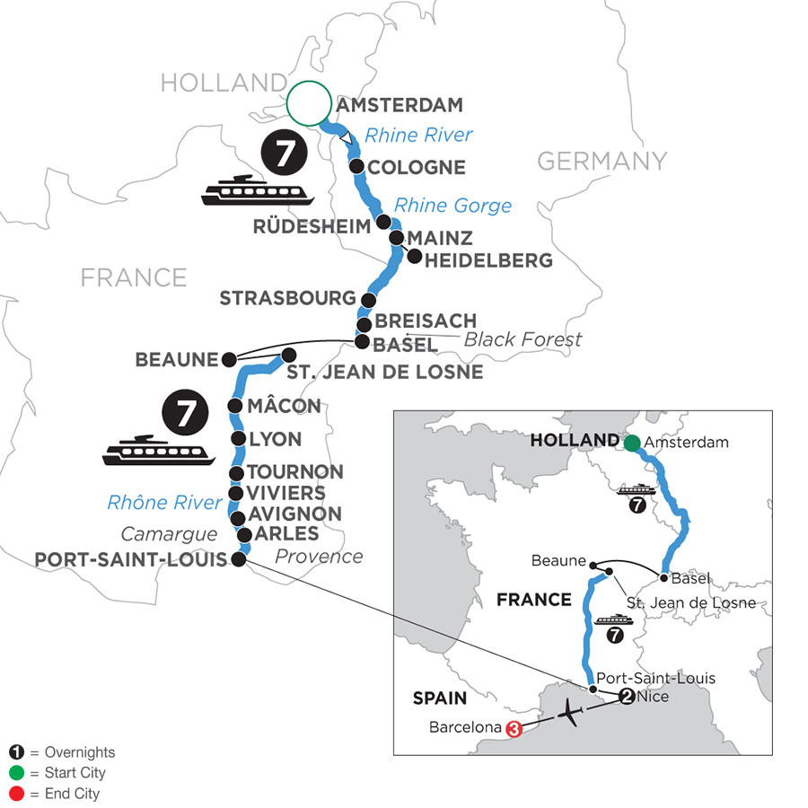 River Cruise Map of Rhine & Rhône Revealed with 2 Nights in Nice & 3 Nights in Barcelona (Southbound)