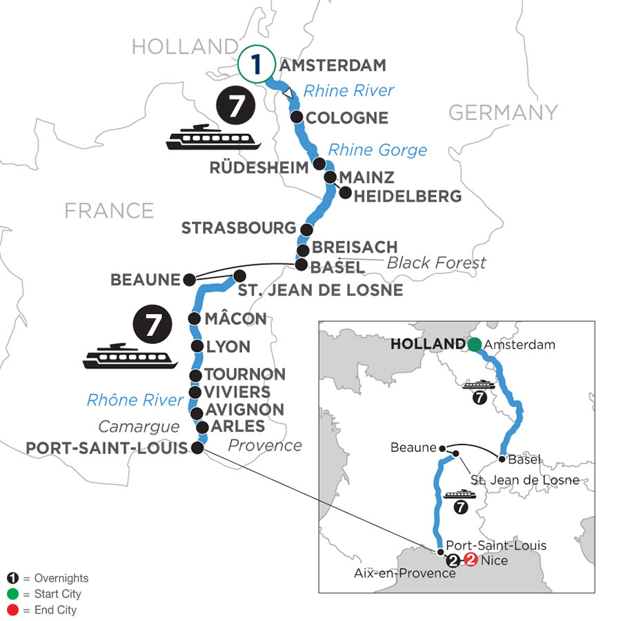 River Cruise Map of Rhine & Rhône Revealed with 1 Night in Amsterdam, 2 Nights in Aix-en-Provence & 2 Nights in Nice (Southbound)