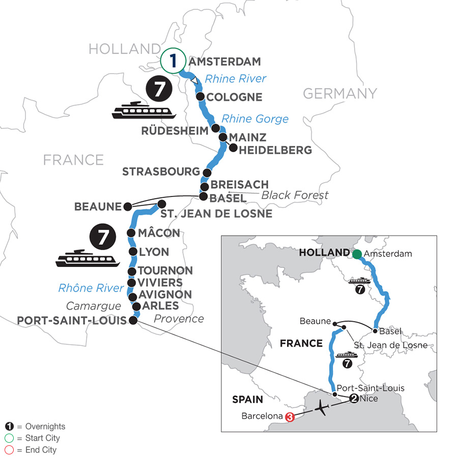 River Cruise Map of Rhine & Rhône Revealed with 1 Night in Amsterdam, 2 Nights in Nice & 3 Nights in Barcelona (Southbound)