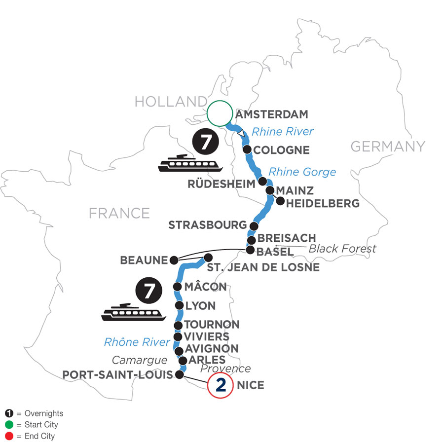 River Cruise Map of Rhine & Rhône Revealed with 2 Nights in Nice (Southbound)