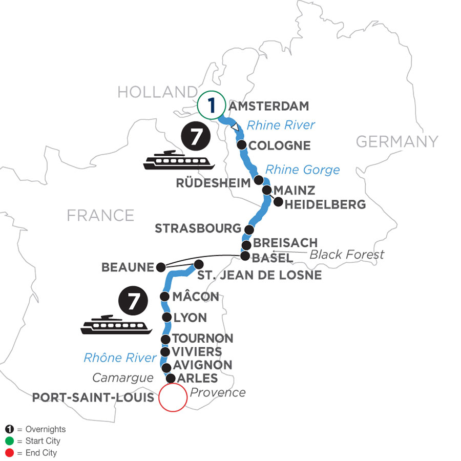 River Cruise Map of Rhine & Rhône Revealed with 1 Night in Amsterdam (Southbound)