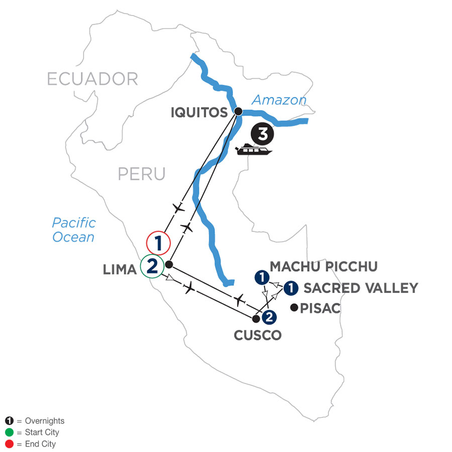 River Cruise Map of From the Inca Empire to the Peruvian Amazon