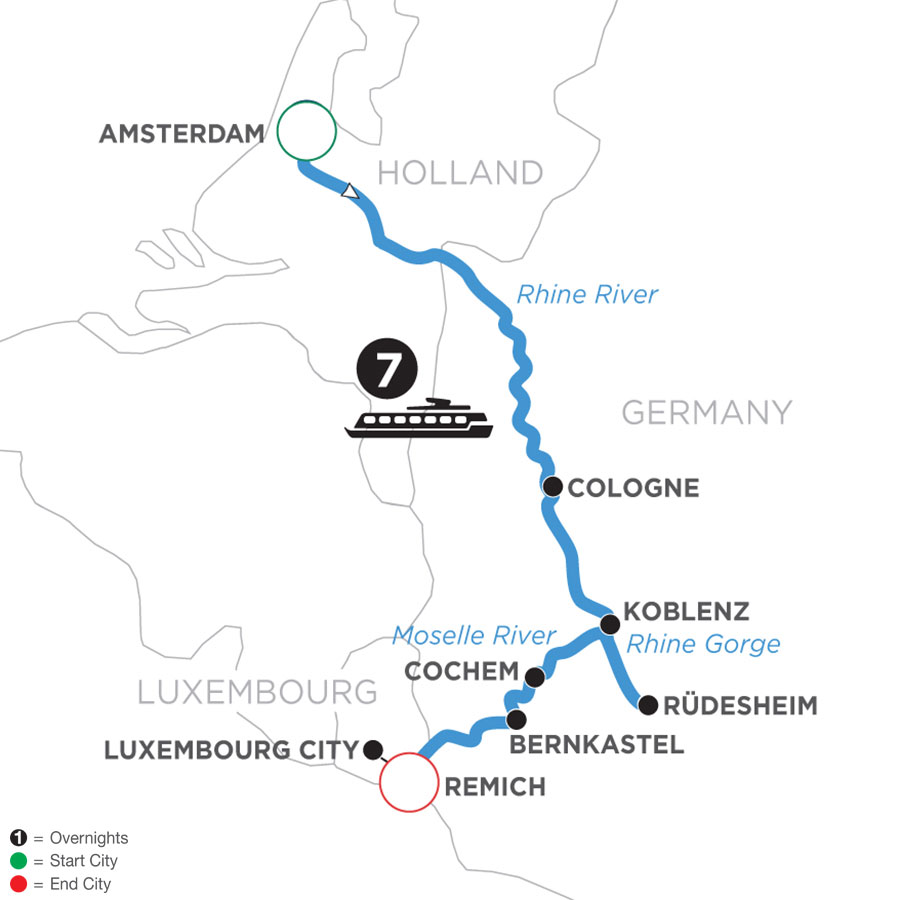 River Cruise Map of The Rhine & Moselle: Canals, Vineyards & Castles