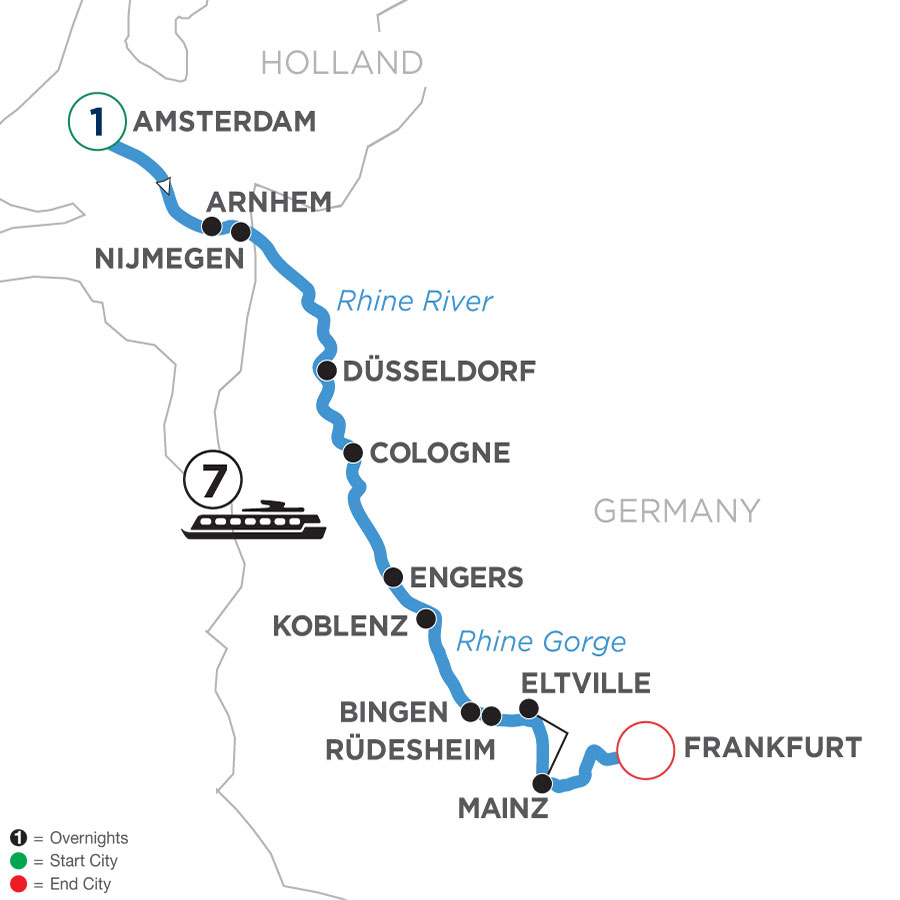 River Cruise Map of Active & Discovery on the Rhine with 1 Night in Amsterdam (Southbound)