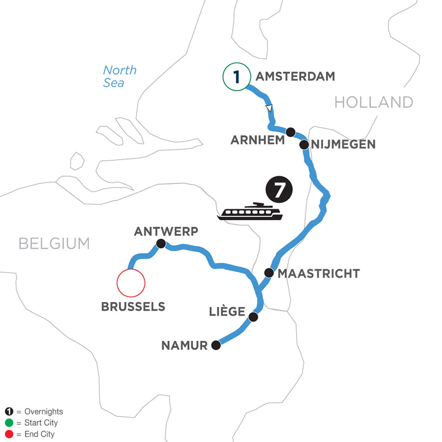 River Cruise Map of Tulip Time in Holland & Belgium with 1 Night Amsterdam