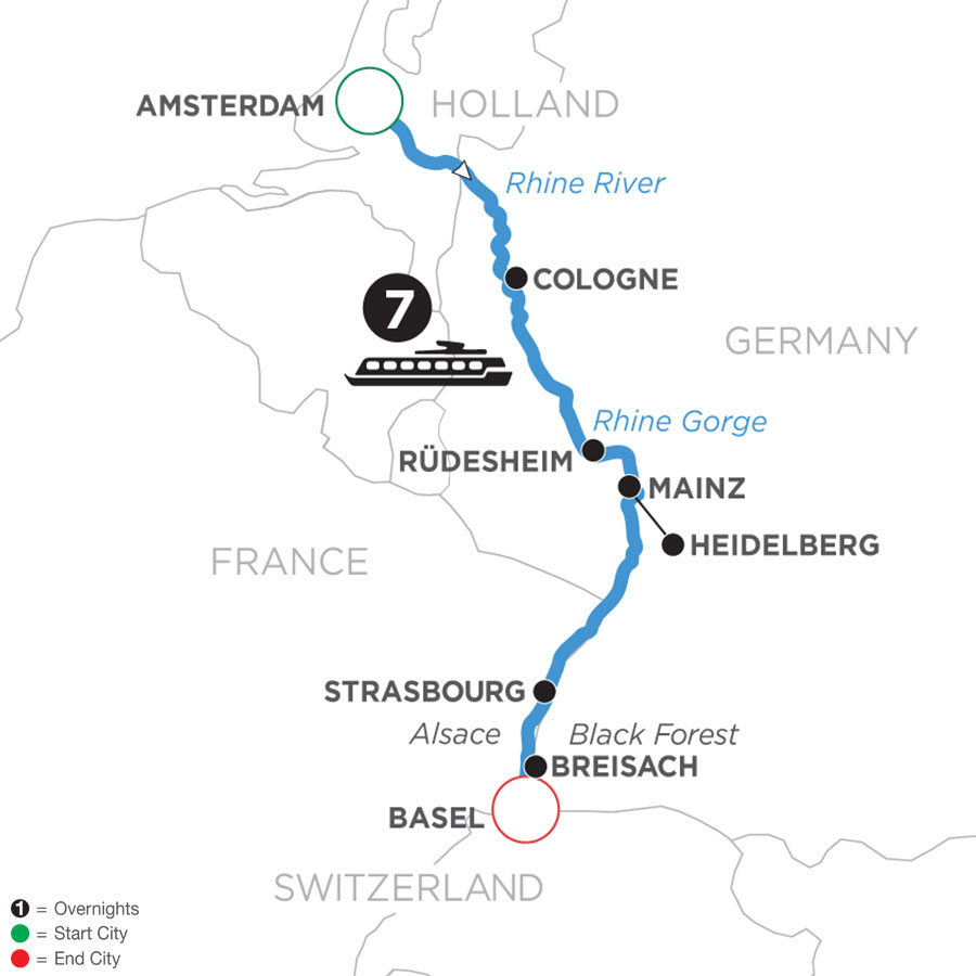 River Cruise Map of Romantic Rhine (Southbound)