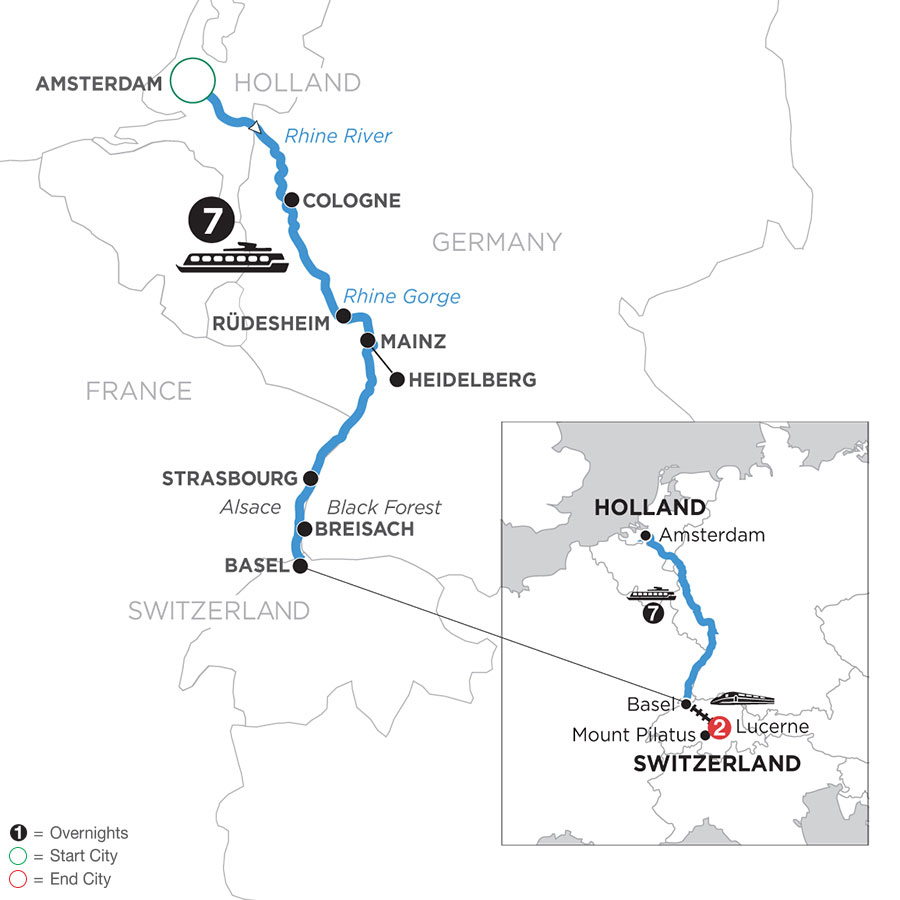 River Cruise Map of Romantic Rhine with 2 Nights in Lucerne (Southbound)