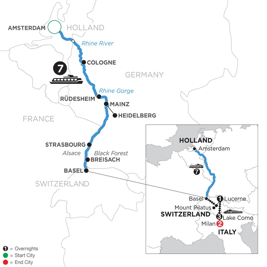 River Cruise Map of Romantic Rhine with Mount Pilatus, 1 Night in Lucerne, 3 Nights in Lake Como & 2 Nights in Milan (Southbound)