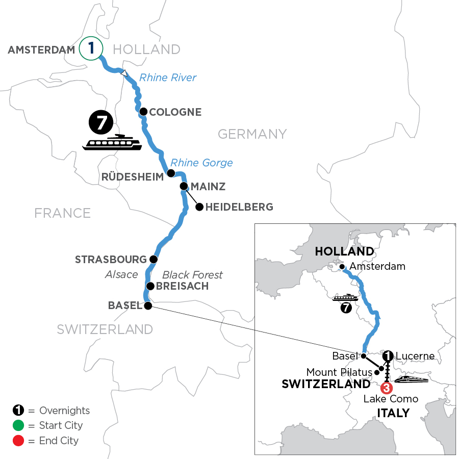 River Cruise Map of Romantic Rhine with 1 Night in Amsterdam, Mount Pilatus, 1 Night in Lucerne & 3 Nights in Lake Como (Southbound)