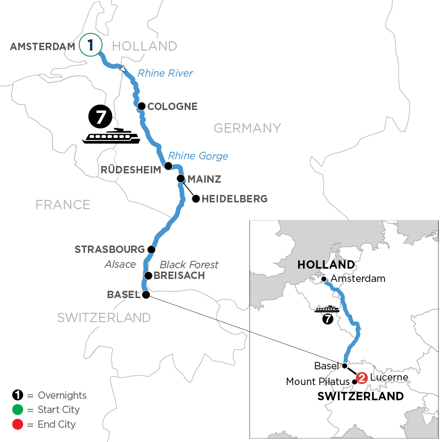 River Cruise Map of Romantic Rhine with 1 Night in Amsterdam & 2 Nights in Lucerne (Southbound)