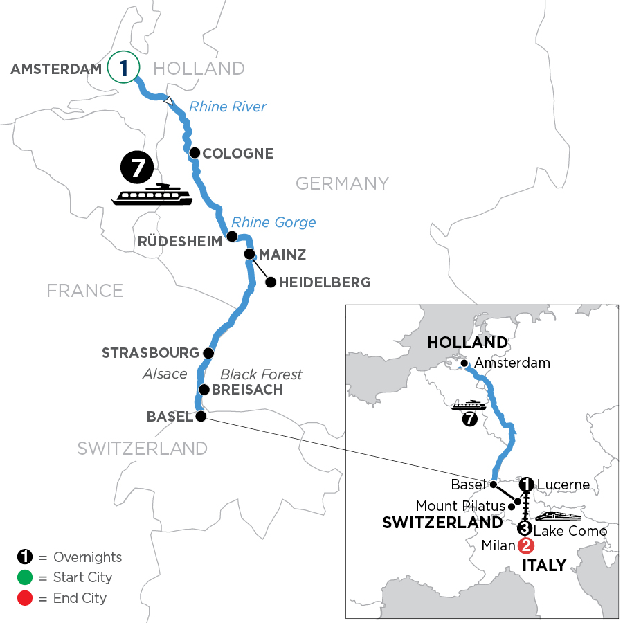 River Cruise Map of Romantic Rhine with 1 Night in Amsterdam, Mount Pilatus, 1 Night in Lucerne, 3 Nights in Lake Como & 2 Nights in Milan (Southbound)