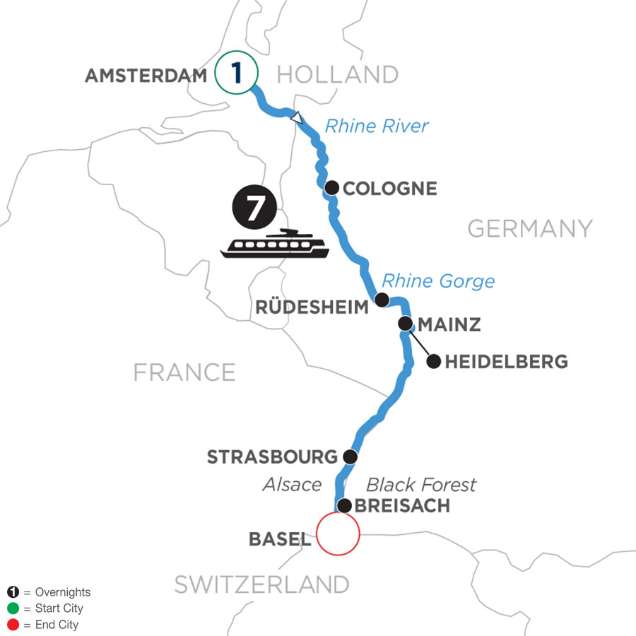 River Cruise Map of Romantic Rhine with 1 Night in Amsterdam (Southbound)