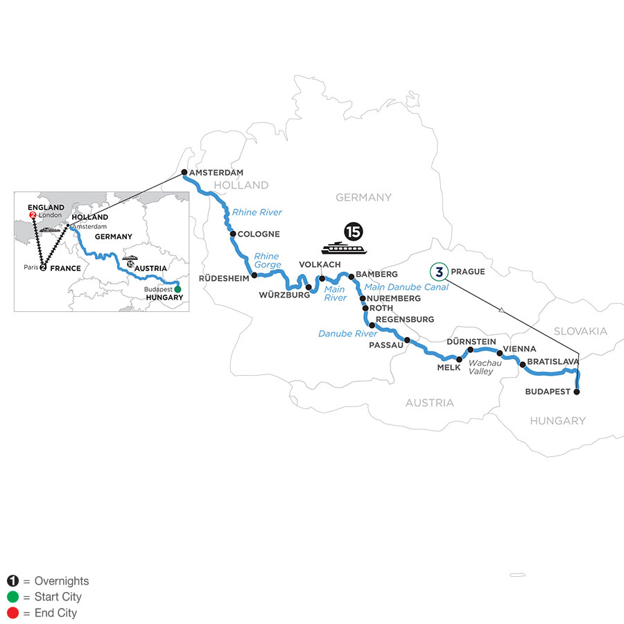 River Cruise Map of Magnificent Rivers of Europe with 3 Nights in Prague, 2 Nights in Paris & 2 Nights in London