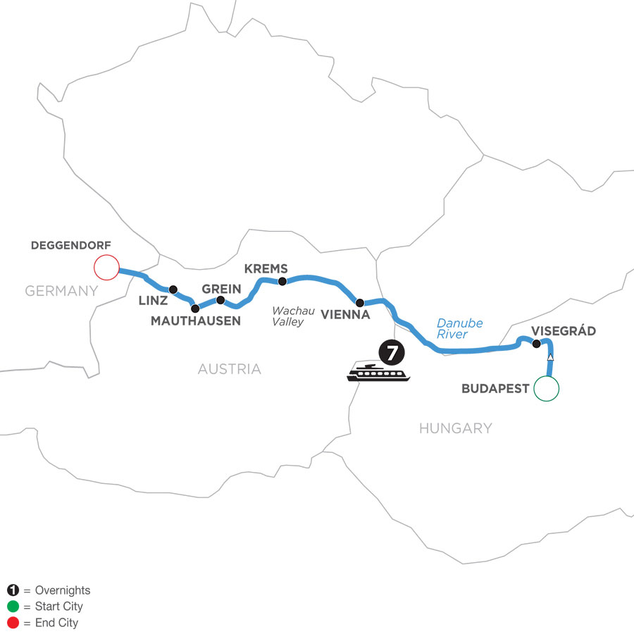 River Cruise Map of Active & Discovery on the Danube (Westbound)