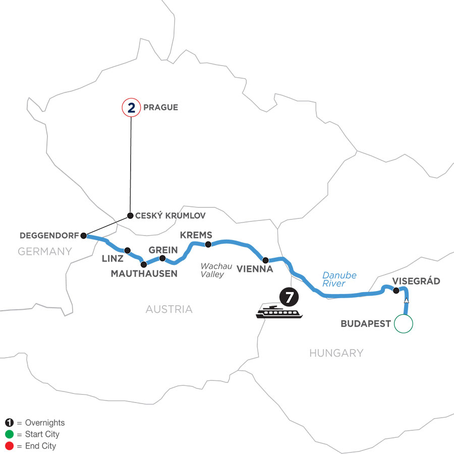 River Cruise Map of Active & Discovery on the Danube with 2 Nights in Prague (Westbound)
