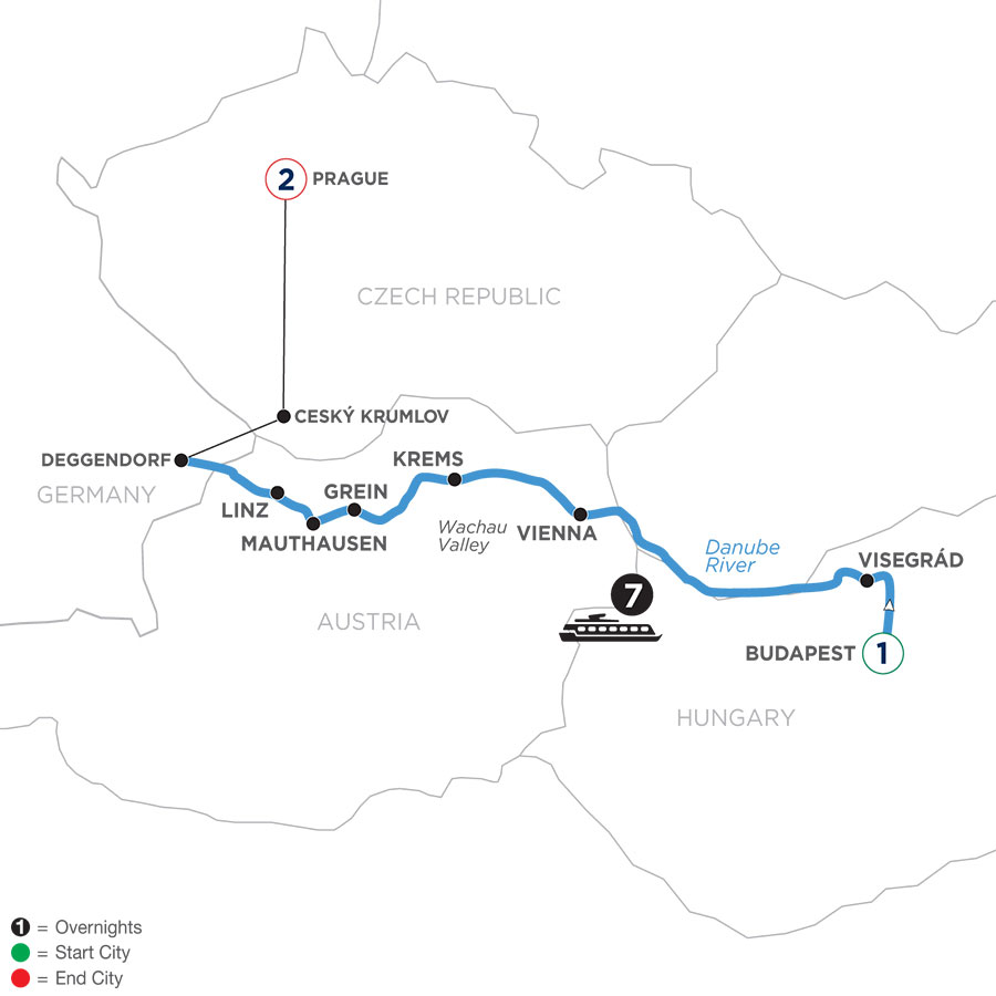 River Cruise Map of Active & Discovery on the Danube with 1 Night in Budapest & 2 Nights in Prague (Westbound)