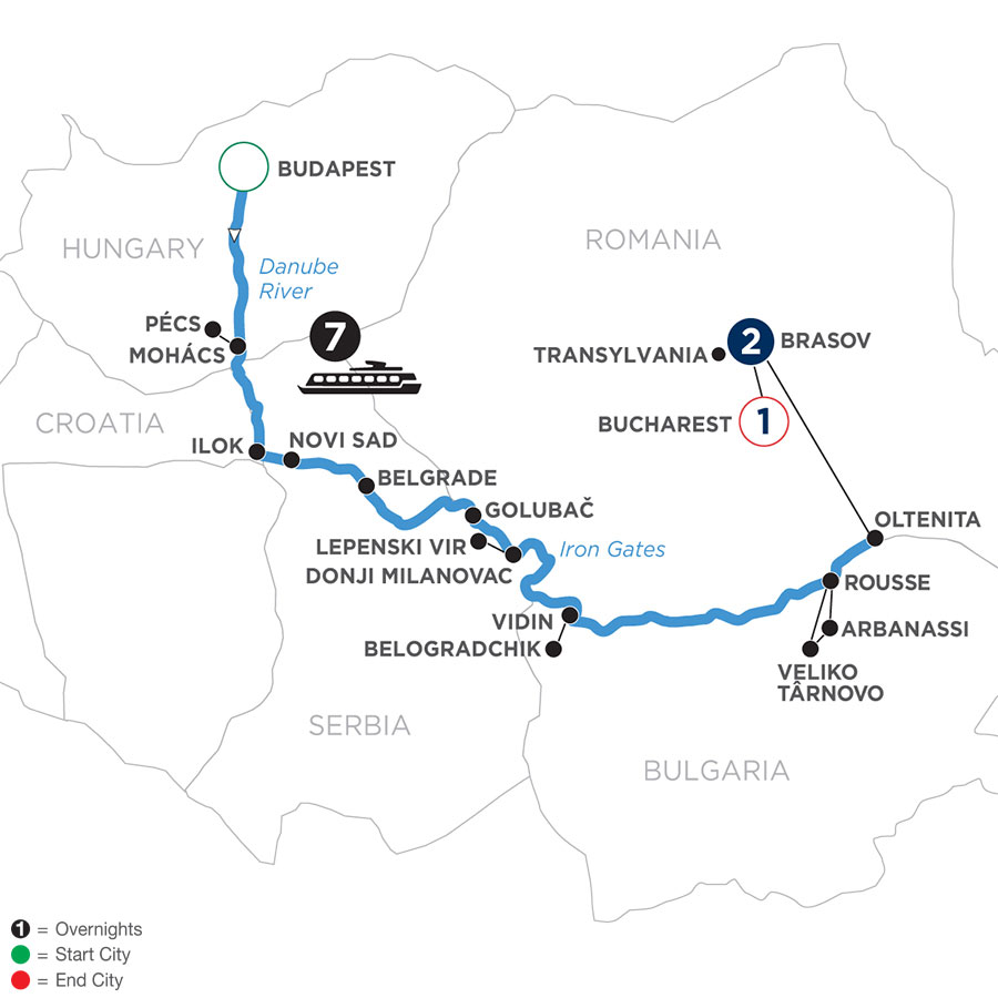 River Cruise Map of Balkan Discovery with 2 Nights in Transylvania