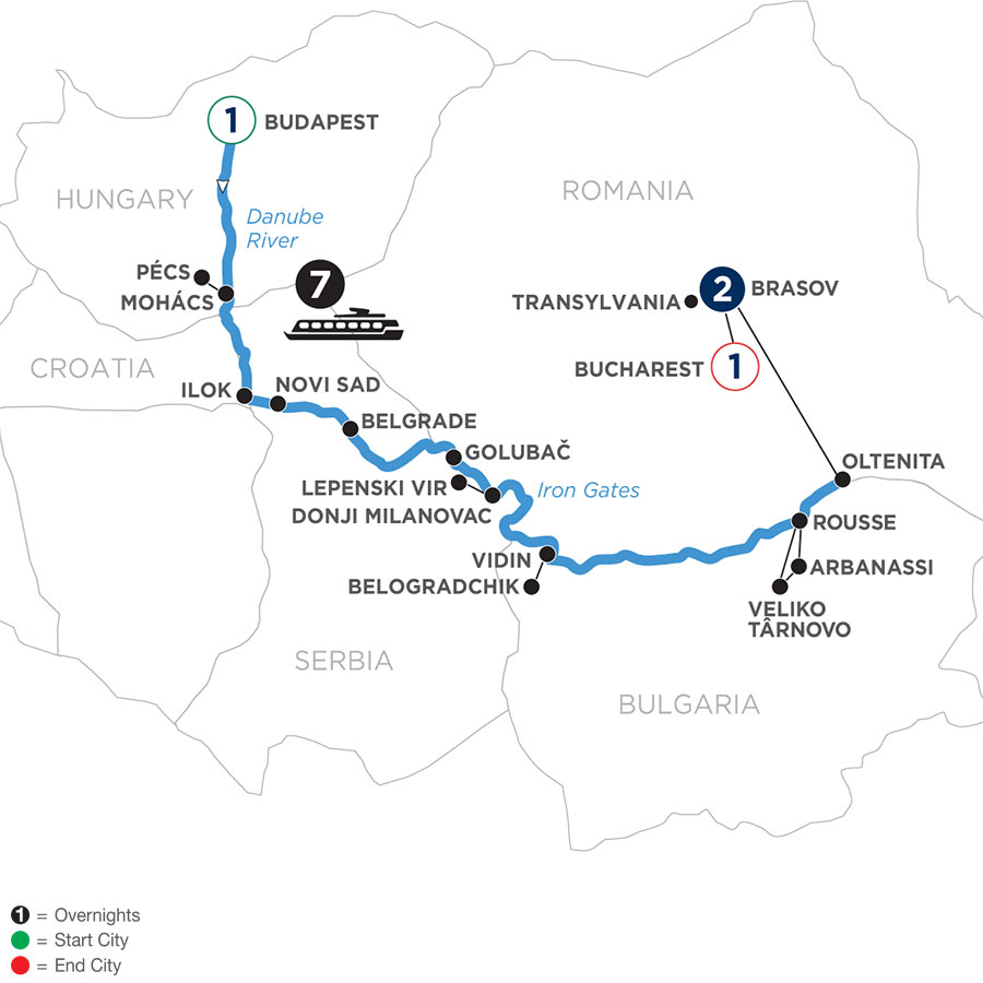 River Cruise Map of Balkan Discovery with 1 Night in Budapest & 2 Nights in Transylvania