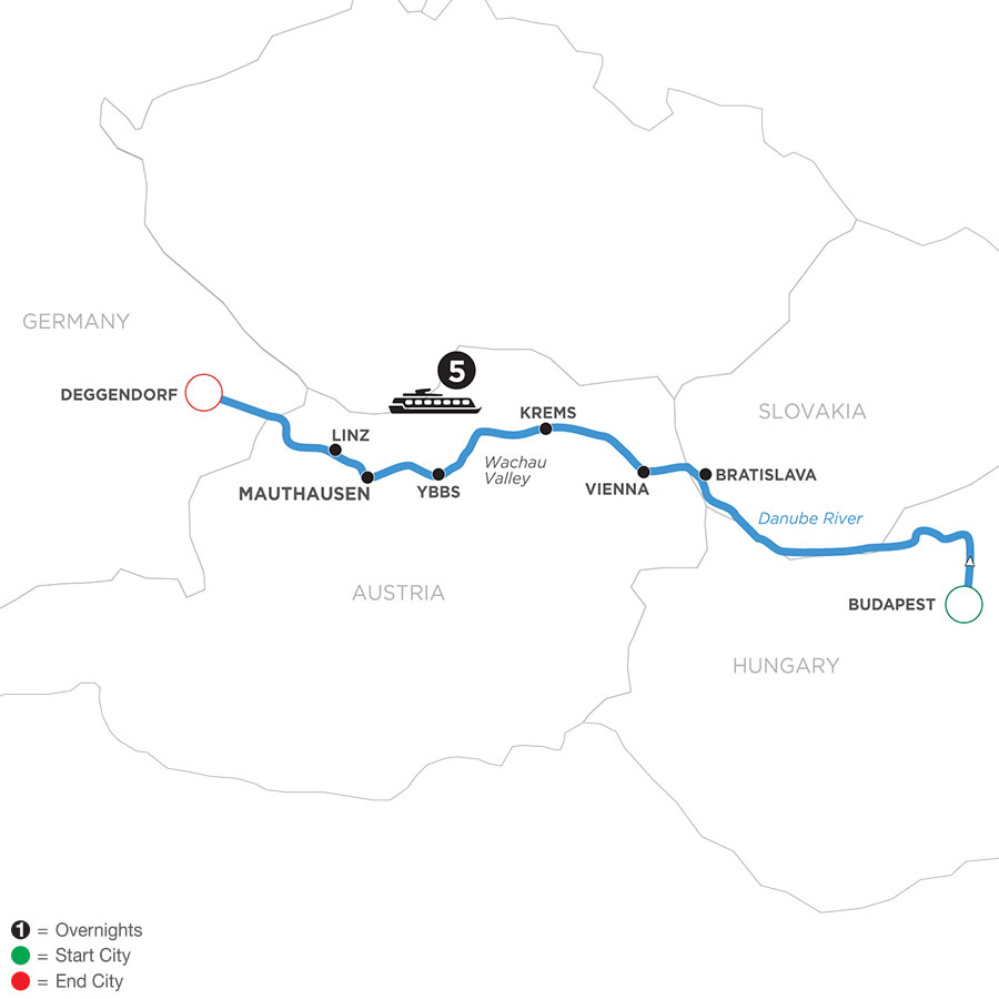 River Cruise Map of Danube Symphony (Westbound)
