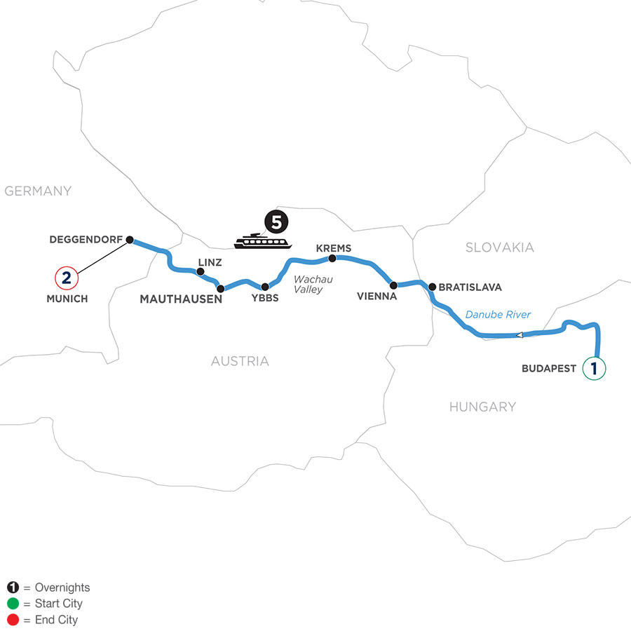 River Cruise Map of Danube Symphony with 1 Night in Budapest & 2 Nights in Munich (Westbound)