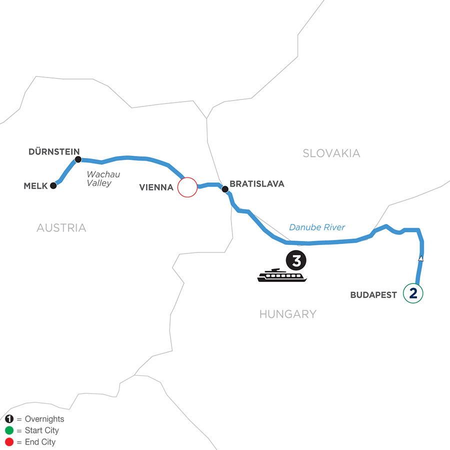 River Cruise Map of A Taste of the Danube with 2 Nights in Budapest (Westbound)