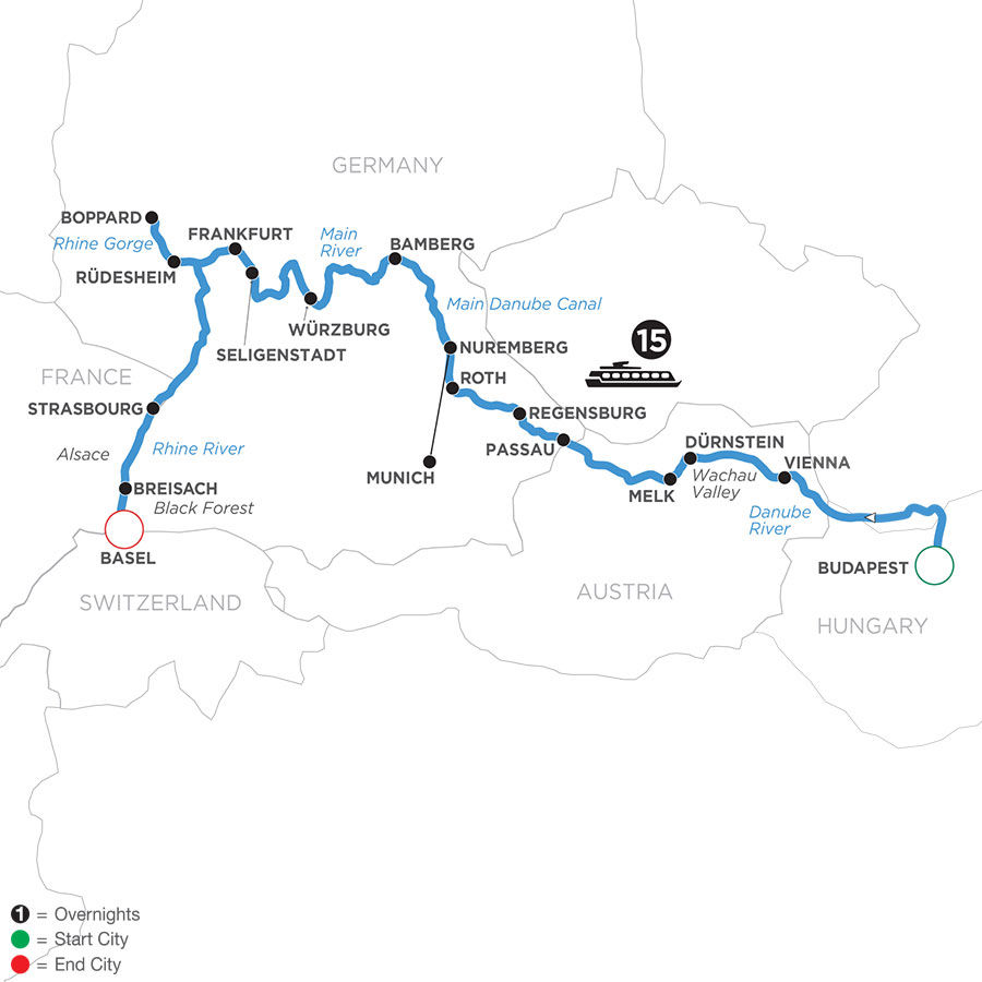 River Cruise Map of Enchanted Europe (Westbound)