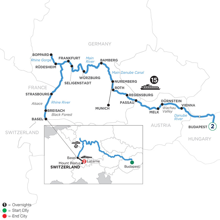 River Cruise Map of Enchanted Europe 2 Nights in Budapest and 2 Nights in Lucerne (Westbound)