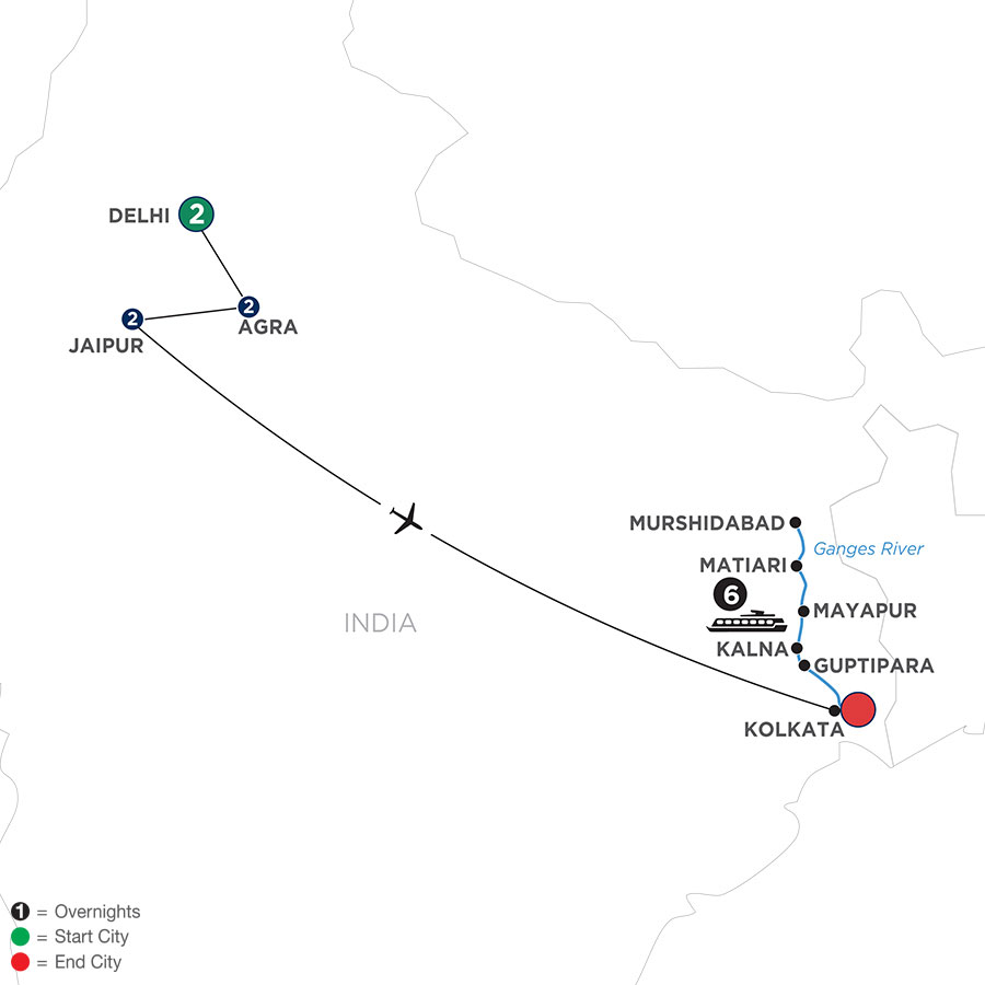 River Cruise Map of Colorful India & the Ganges River