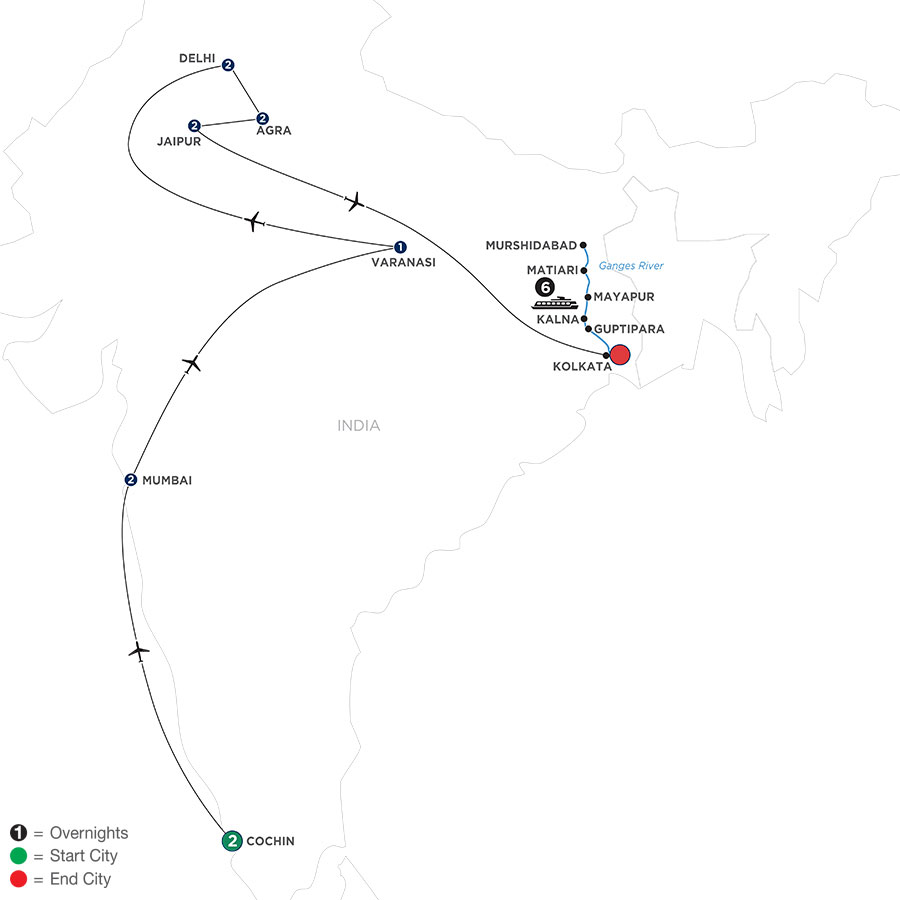 River Cruise Map of Colorful India & the Ganges River with Southern India & Varanasi
