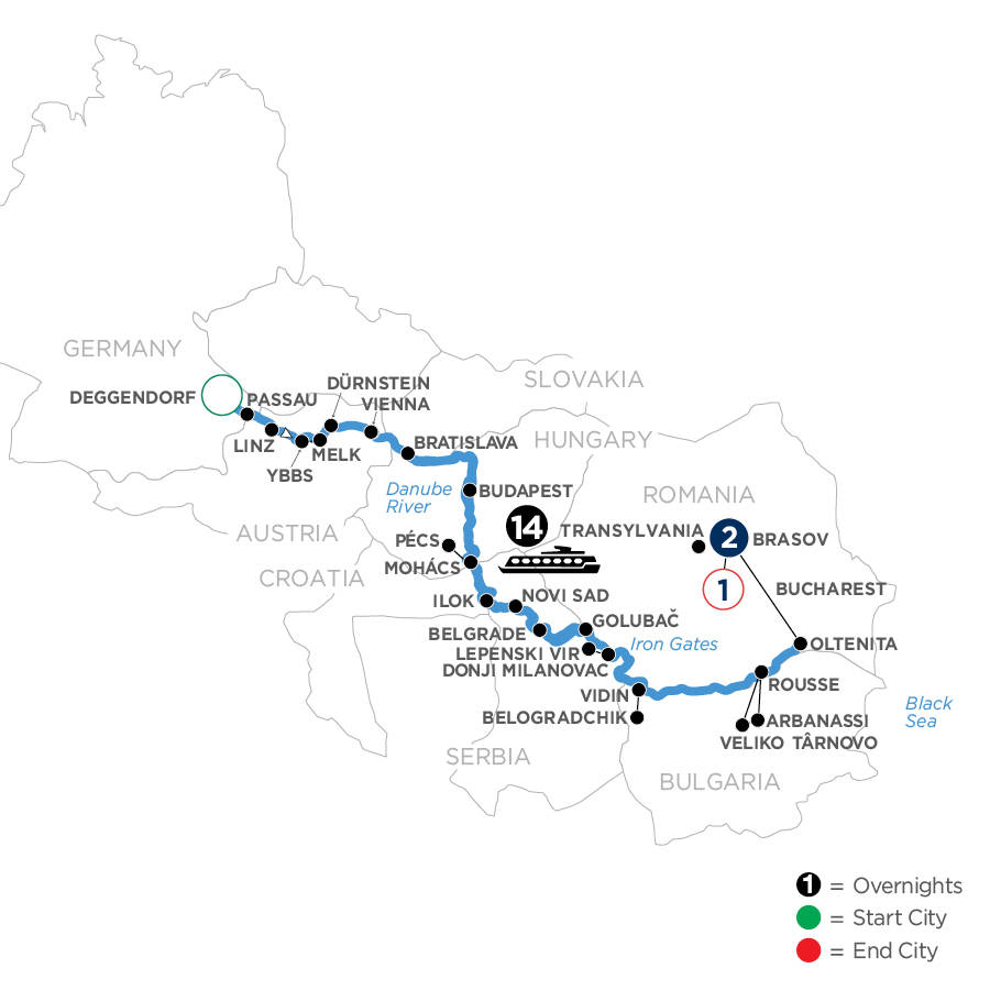 River Cruise Map of The Danube from Germany to the Black Sea with 2 Nights in Transylvania