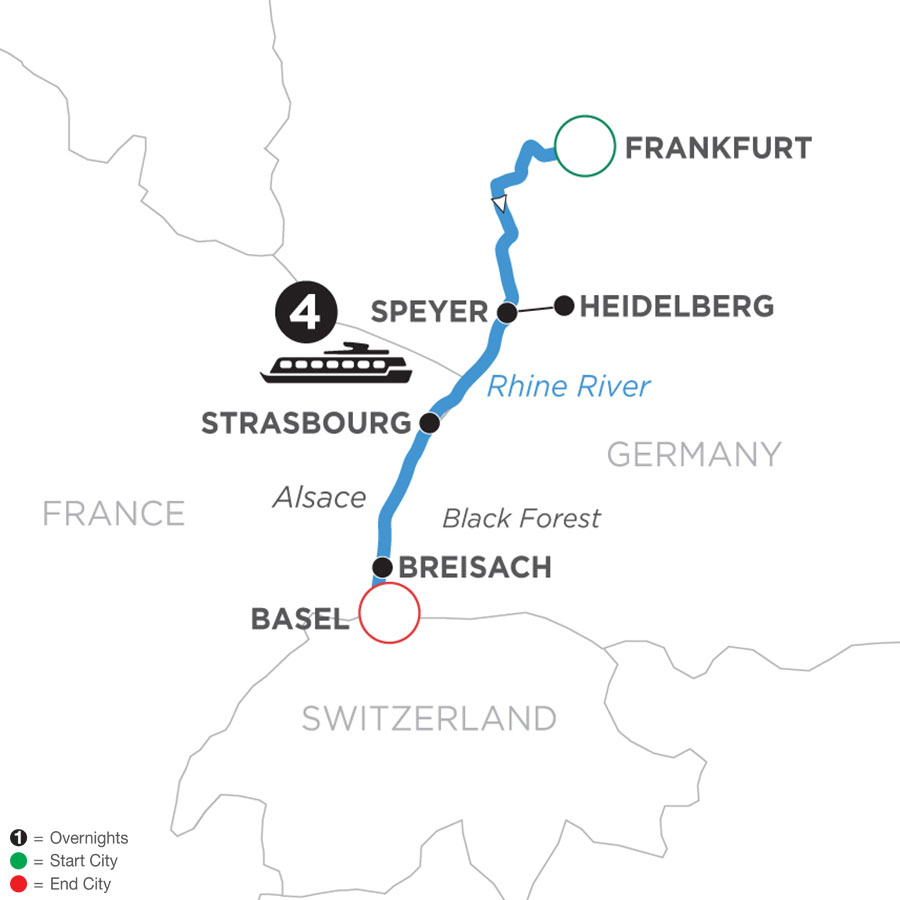 River Cruise Map of Christmastime in Alsace & Germany (Southbound)