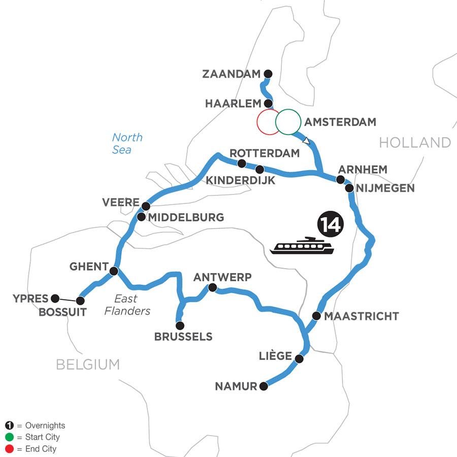 River Cruise Map of Grand Tulip Cruise of Holland & Belgium