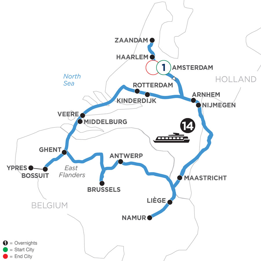 River Cruise Map of Grand Tulip Cruise of Holland & Belgium with 1 Night in Amsterdam