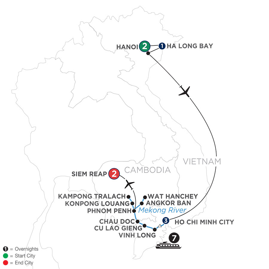 River Cruise Map of Fascinating Vietnam, Cambodia & the Mekong River with Hanoi & Ha Long Bay (Northbound)