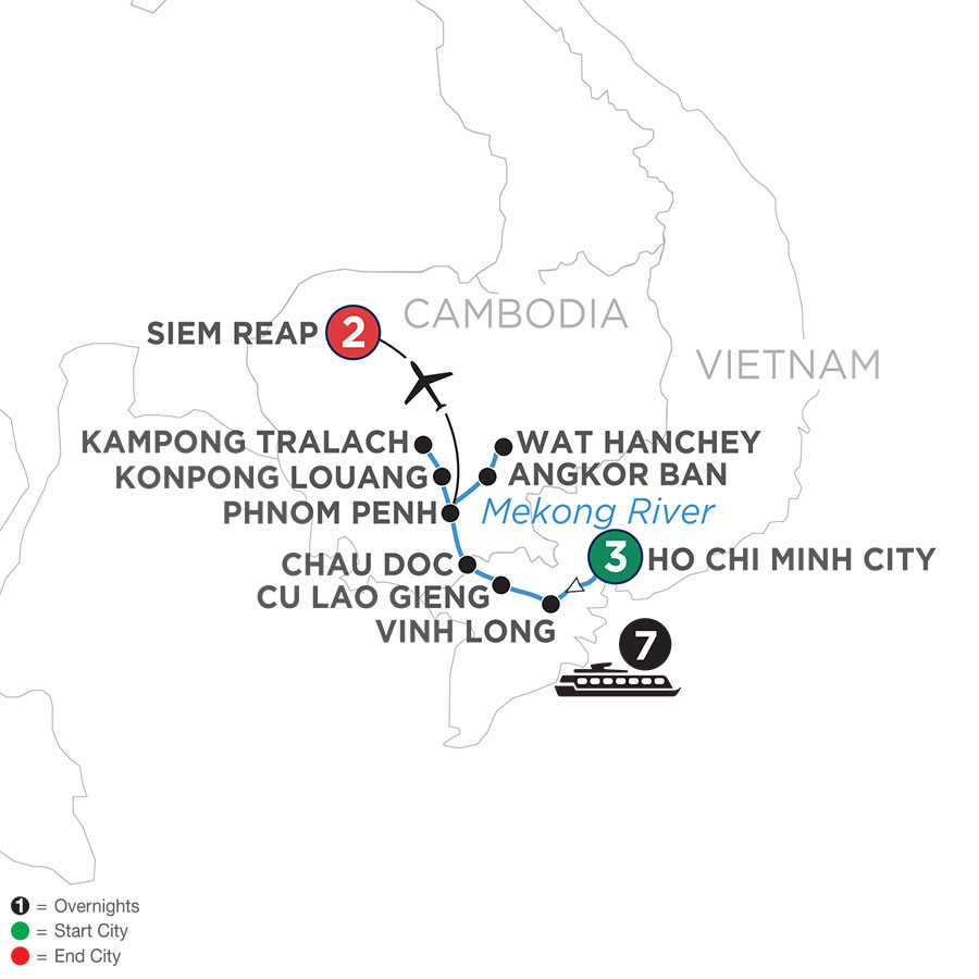 River Cruise Map of Fascinating Vietnam, Cambodia & the Mekong River (Northbound)