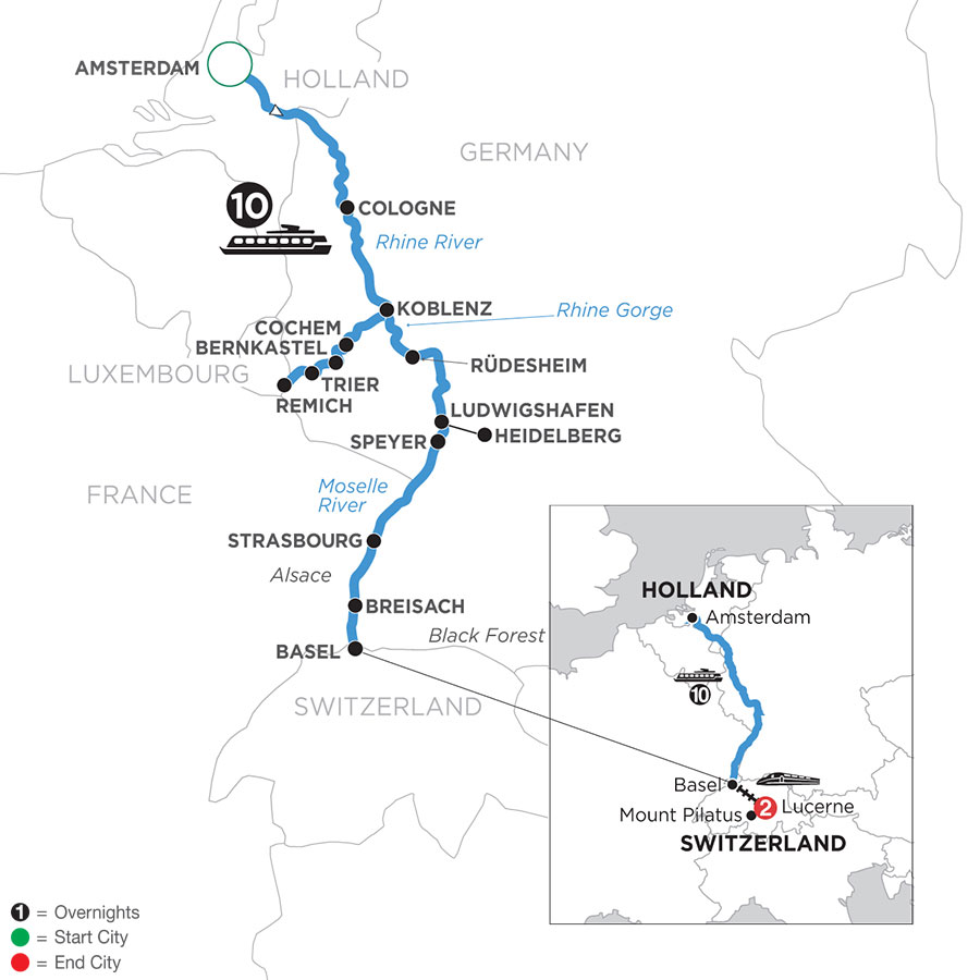 River Cruise Map of The Rhine & Moselle with 2 Nights in Lucerne (Southbound)