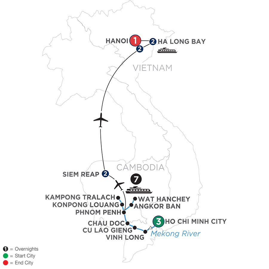 River Cruise Map of The Heart of Cambodia & Vietnam (Northbound)