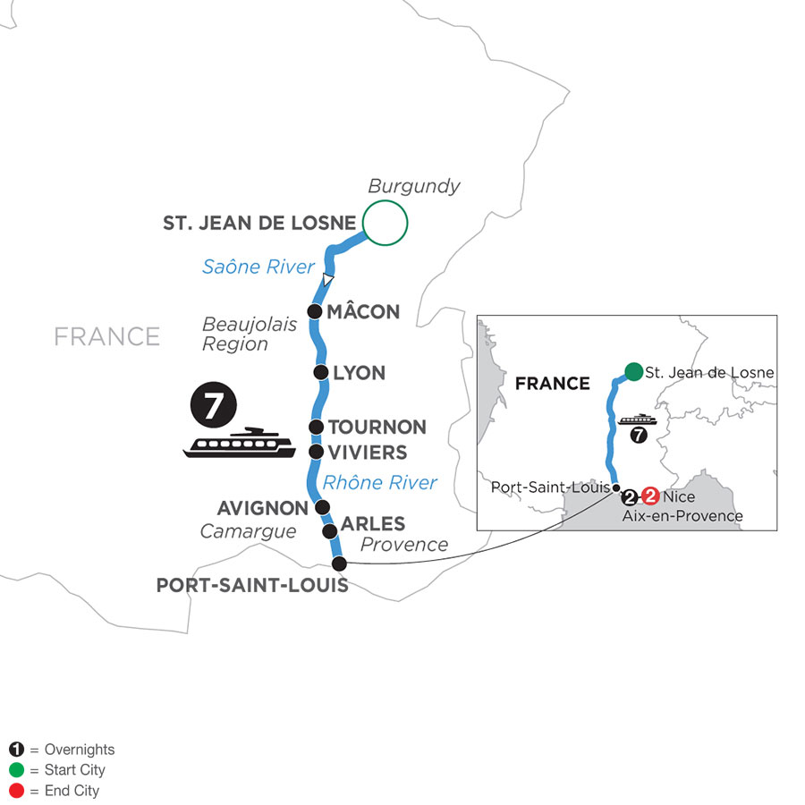 River Cruise Map of Burgundy & Provence with 2 Nights in Aix-en-Provence & 2 Nights in Nice (Southbound)