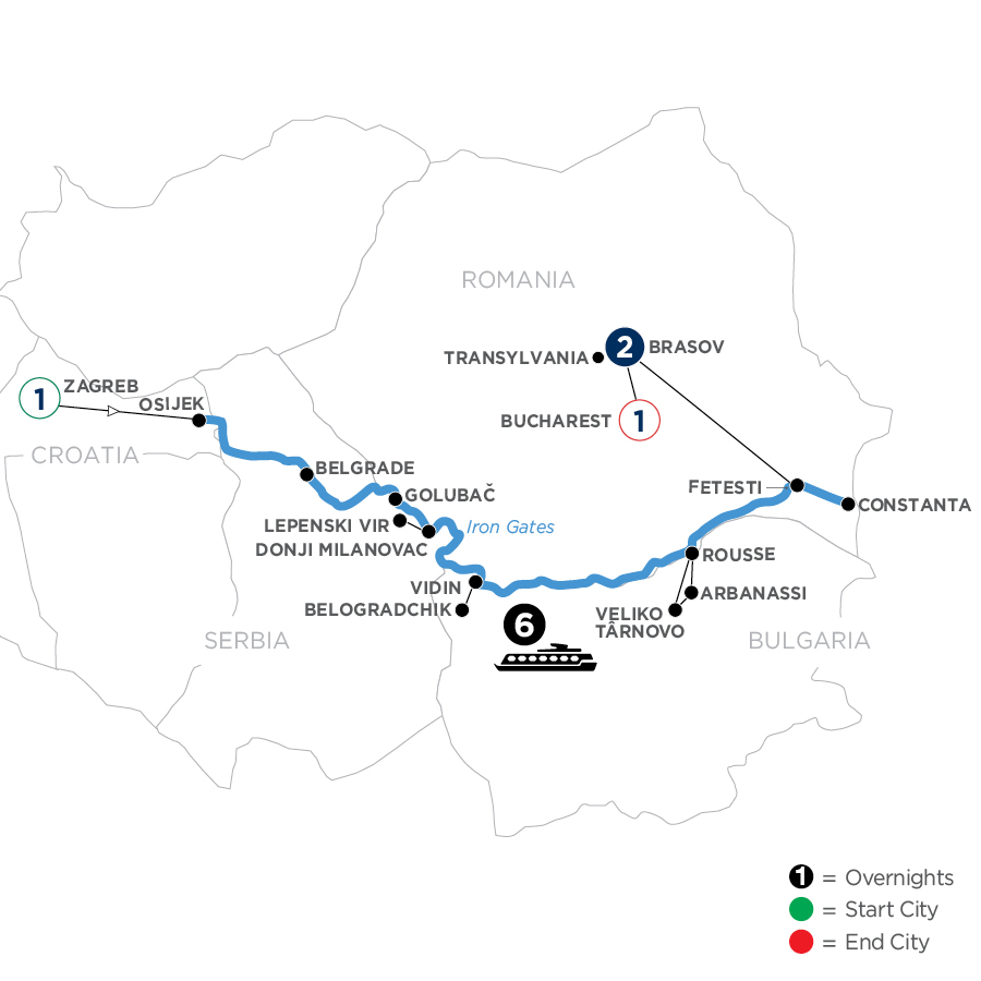 River Cruise Map of The Danube from Croatia to the Black Sea with 2 Nights in Transylvania
