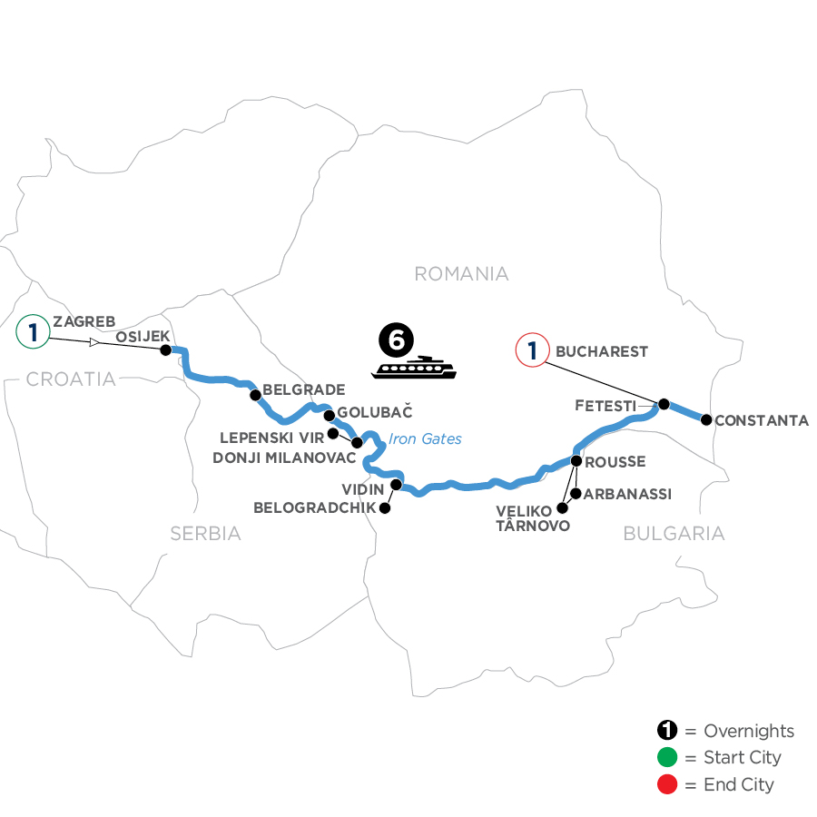 River Cruise Map of The Danube from Croatia to the Black Sea