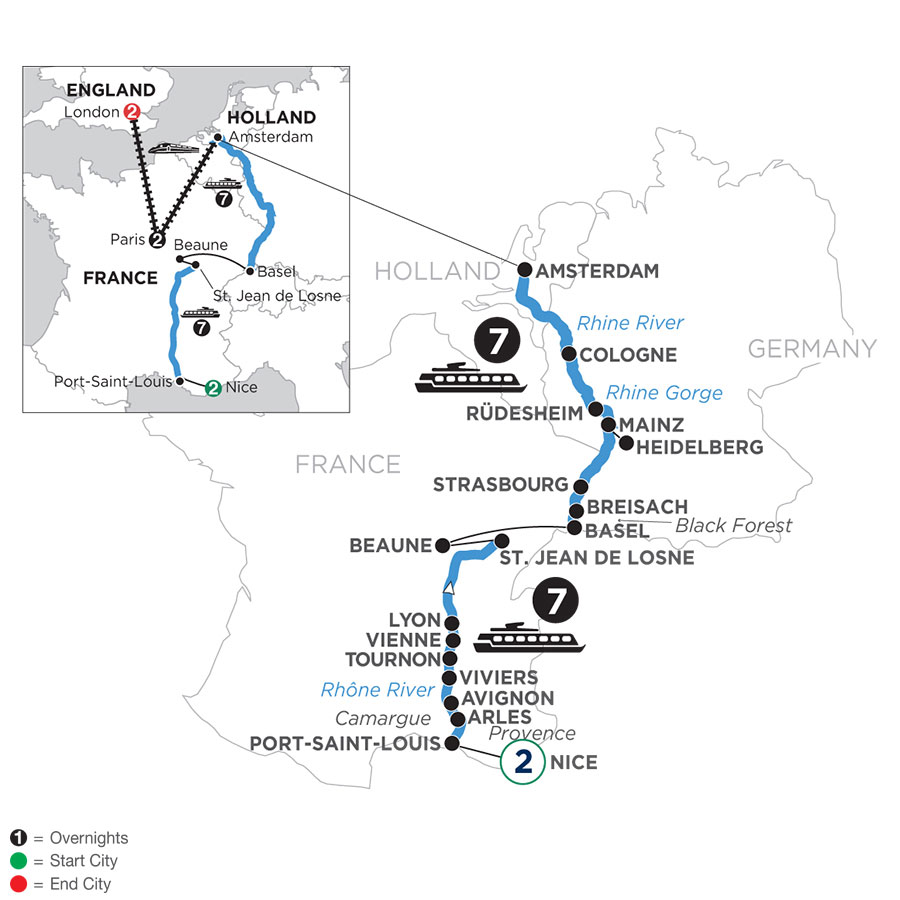 River Cruise Map of Rhine & Rhône Revealed with 2 Nights in Nice, 2 Nights in Paris & 2 Nights in London (Northbound)
