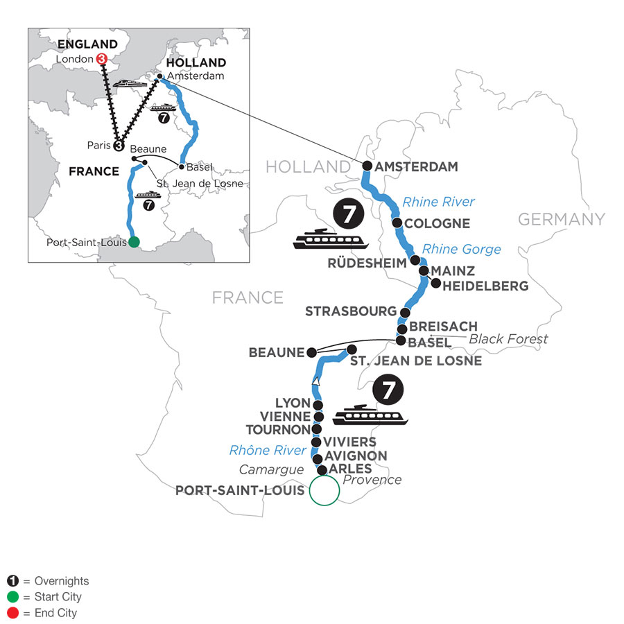 River Cruise Map of Rhine & Rhône Revealed with 3 Nights in Paris & 3 Nights in London (Northbound)