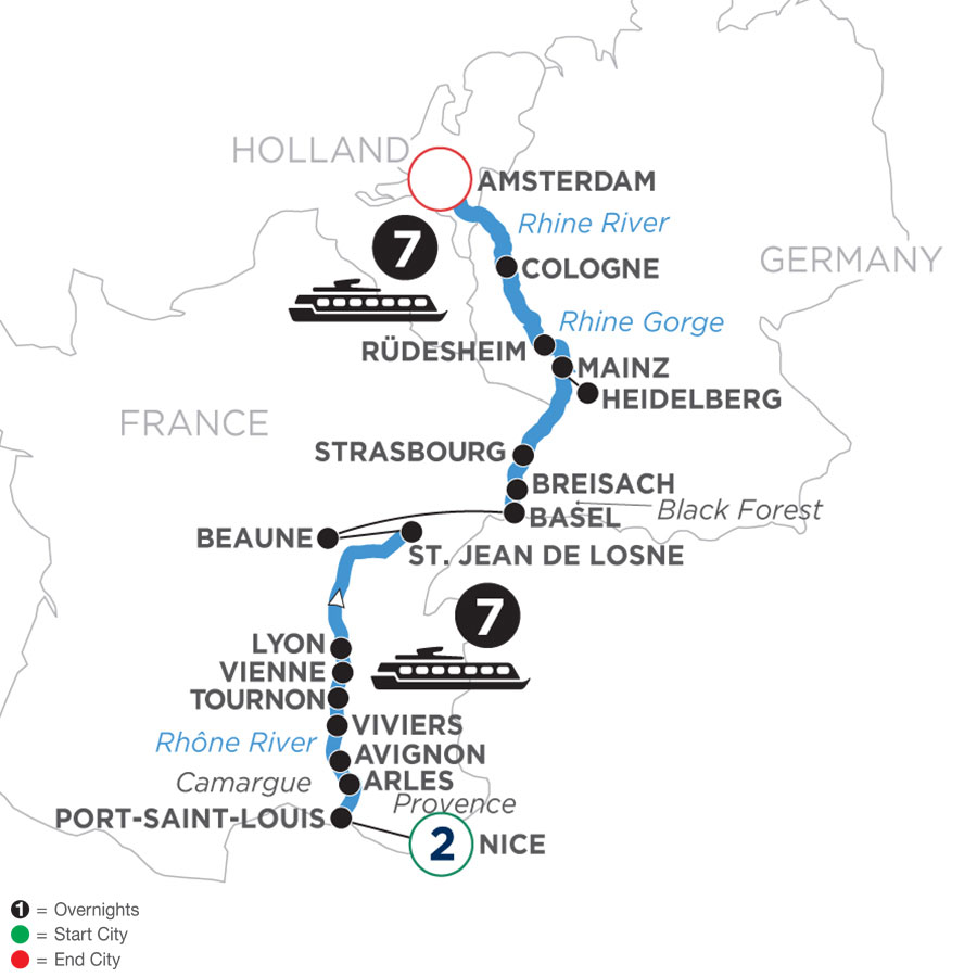 River Cruise Map of Rhine & Rhône Revealed with 2 Nights in the Nice (Northbound)