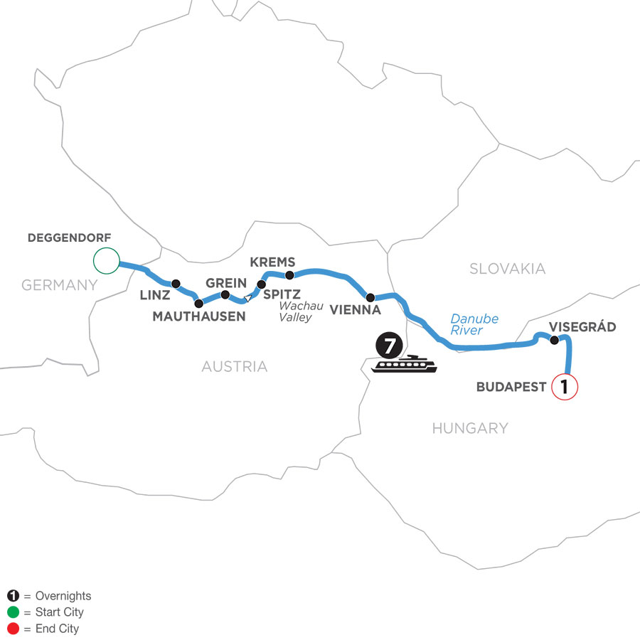 River Cruise Map of Active & Discovery on the Danube with 1 Night in Budapest (Eastbound)