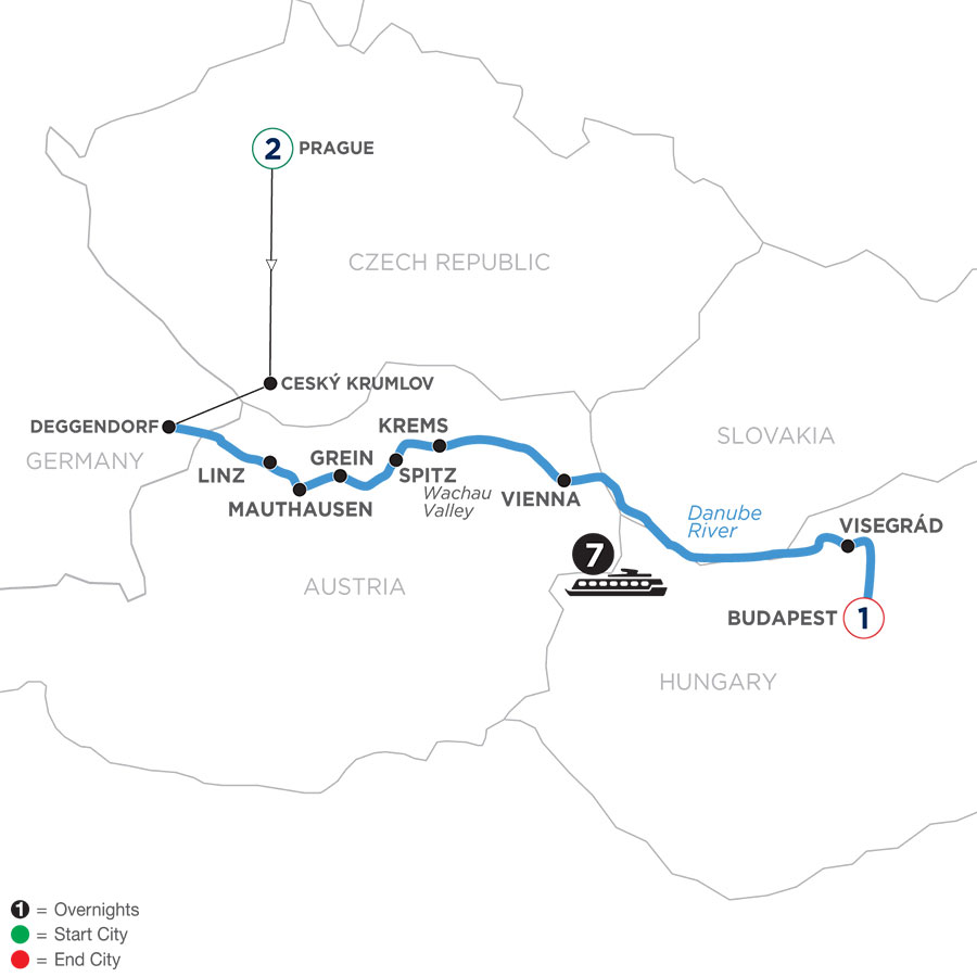 River Cruise Map of Active & Discovery on the Danube with 2 Nights in Prague & 1 Night in Budapest (Eastbound)