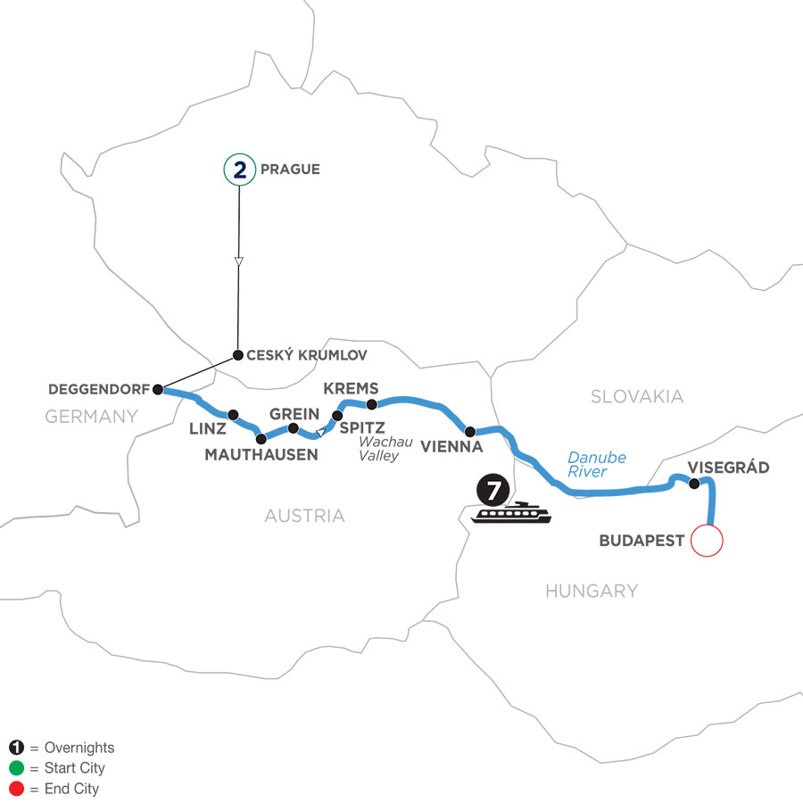 River Cruise Map of Active & Discovery on the Danube with 2 Nights in Prague (Eastbound)
