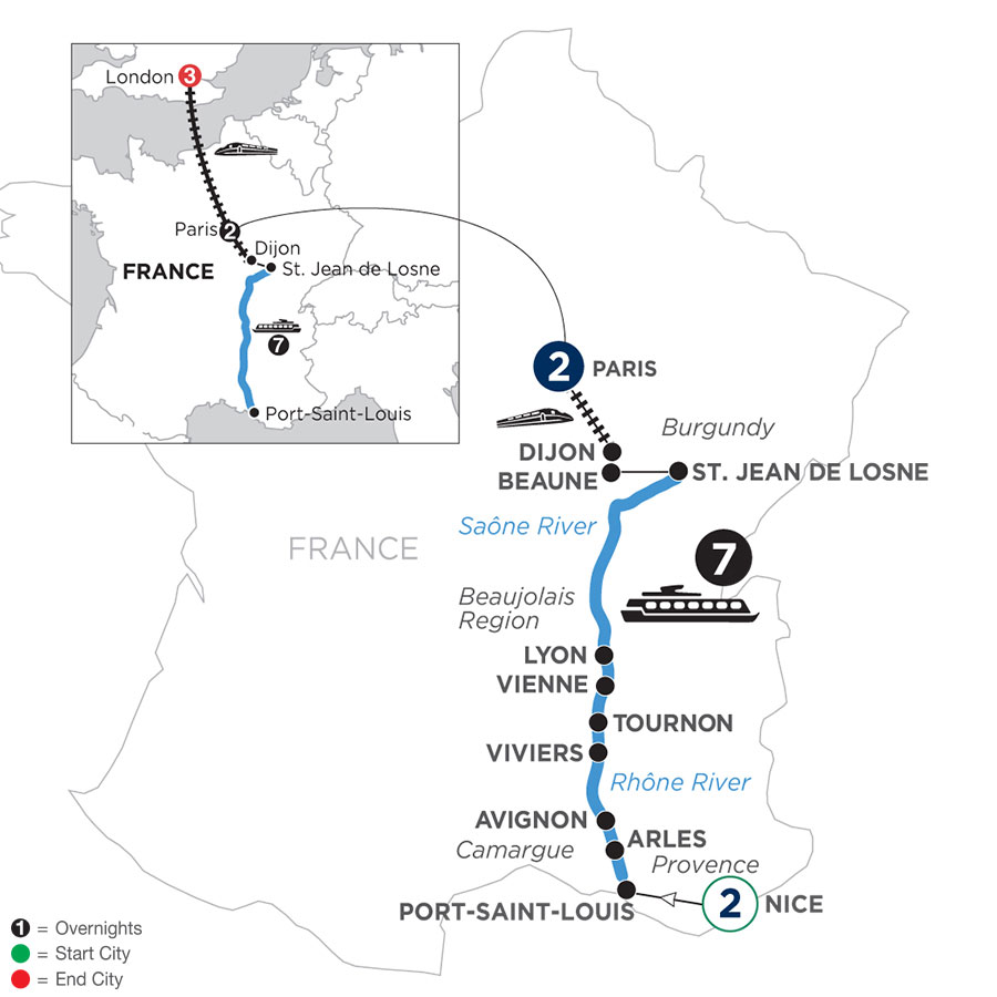River Cruise Map of Burgundy & Provence with 2 Nights in Nice, 2 Nights in Paris & 3 Nights in London (Northbound)