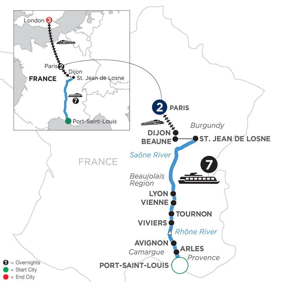 River Cruise Map of Burgundy & Provence with 2 Nights in Paris & 3 Nights in London (Northbound)