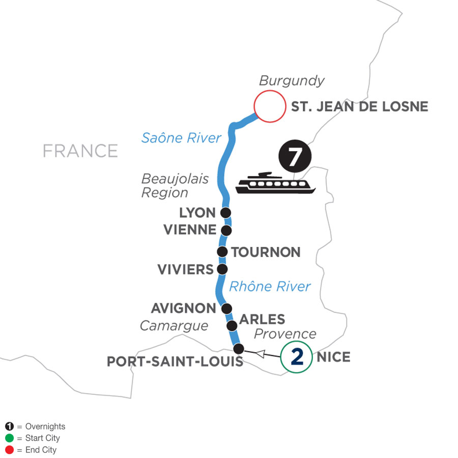 River Cruise Map of Burgundy & Provence with 2 Nights in Nice (Northbound)