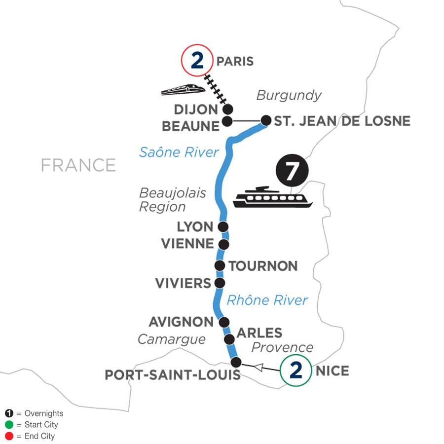 River Cruise Map of Burgundy & Provence with 2 Nights in Nice  & 2 Nights in Paris (Northbound)